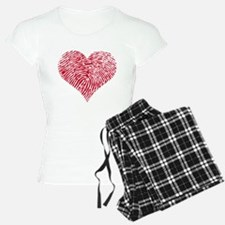 Red heart with fingerprint pattern Pajamas