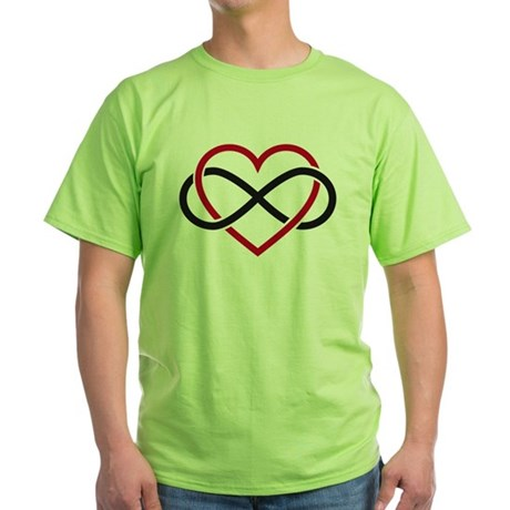 Infinity heart, never ending love Green T-Shirt