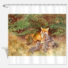 Painting of Momma Fox and Kits Shower Curtain