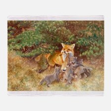 Painting of Momma Fox and Kits Throw Blanket