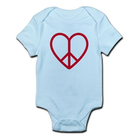 Love and peace, red heart with peace sign Infant B