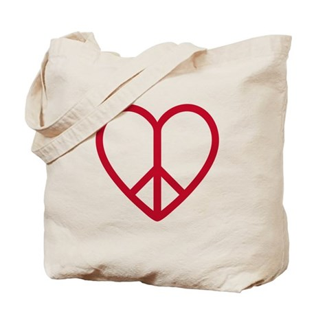 Love and peace, red heart with peace sign Tote Bag
