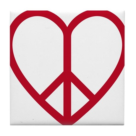 Love and peace, red heart with peace sign Tile Coa