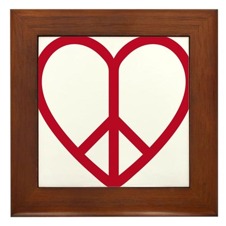 Love and peace, red heart with peace sign Framed T