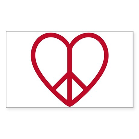 Love and peace, red heart with peace sign Sticker