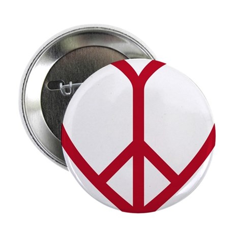 """Love and peace, red heart with peace sign 2.25"""" Bu"""