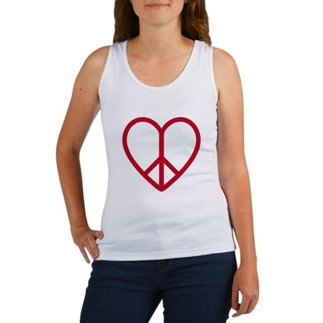 Love and peace, red heart with peace sign Women's