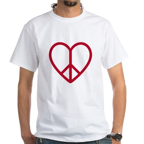Love and peace, red heart with peace sign White T-