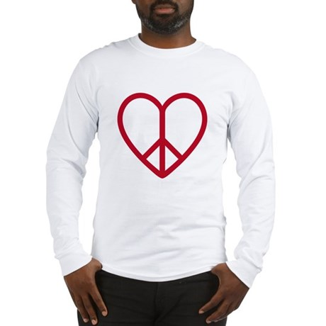 Love and peace, red heart with peace sign Long Sle