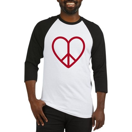 Love and peace, red heart with peace sign Baseball