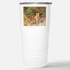 Painting of Momma Fox and Kits Travel Mug