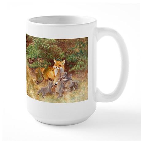 Painting of Momma Fox and Kits Large Mug