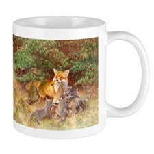 Painting of Momma Fox and Kits Mug