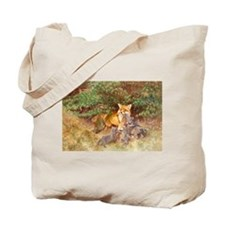 Painting of Momma Fox and Kits Tote Bag