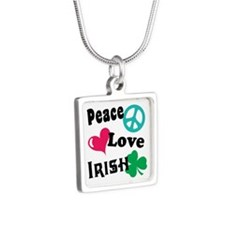 Peace Love Irish Silver Square Necklace