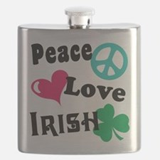 Peace Love Irish Flask