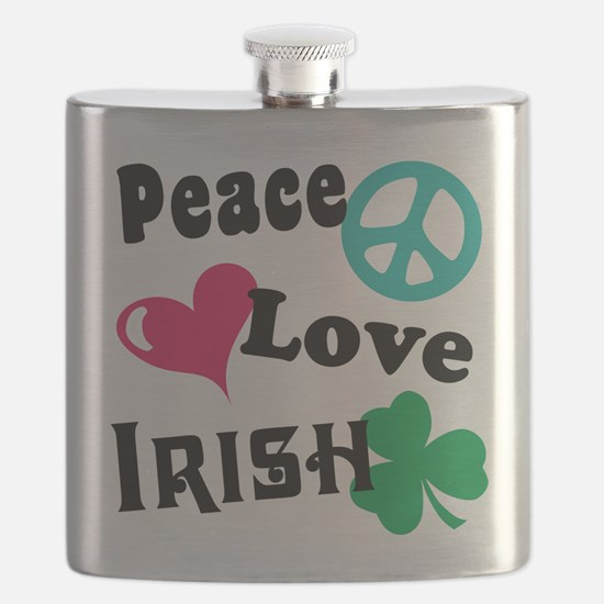 Peace Love Irish Flask