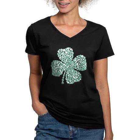 Lucky Shamrock Skulls Women's V-Neck Dark T-Shirt