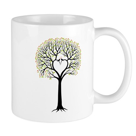 Love tree with heart branches, birds and hearts Mu