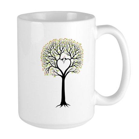 Love tree with heart branches, birds and hearts La