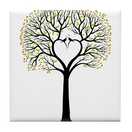Love tree with heart branches, birds and hearts Ti
