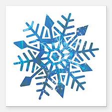 "Serene Snowflake Square Car Magnet 3"" x 3"""