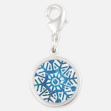 Serene Snowflake Silver Round Charm