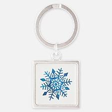 Serene Snowflake Square Keychain