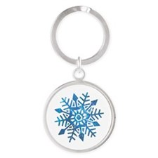 Serene Snowflake Round Keychain