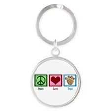 Peace Love Dogs Round Keychain
