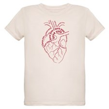 Red human heart with text I love you T-Shirt