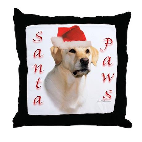 Santa Paws Yellow Lab Throw Pillow