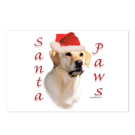 Santa Paws Yellow Lab Postcards (Package of 8)