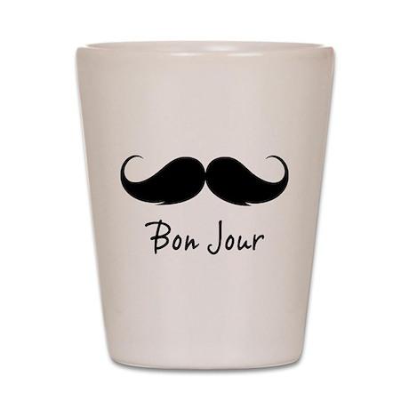 Bonjour moustache Shot Glass
