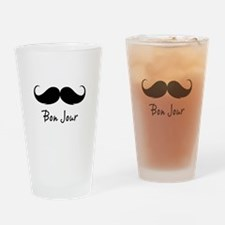 Bonjour moustache Drinking Glass