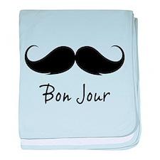 Bonjour moustache baby blanket