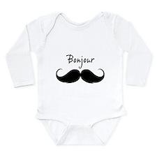 Bonjour moustache Long Sleeve Infant Bodysuit