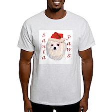Santa Paws Maltese Ash Grey T-Shirt