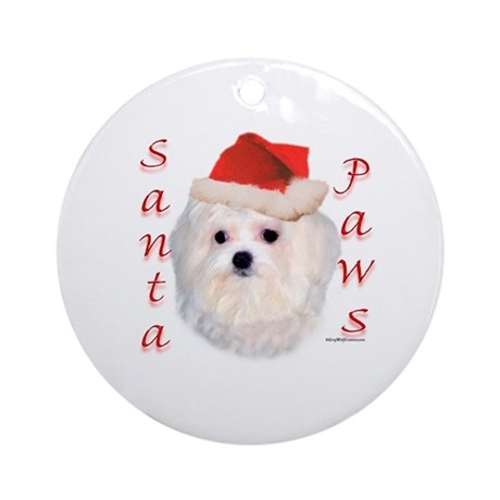 Santa Paws Maltese Ornament (Round)