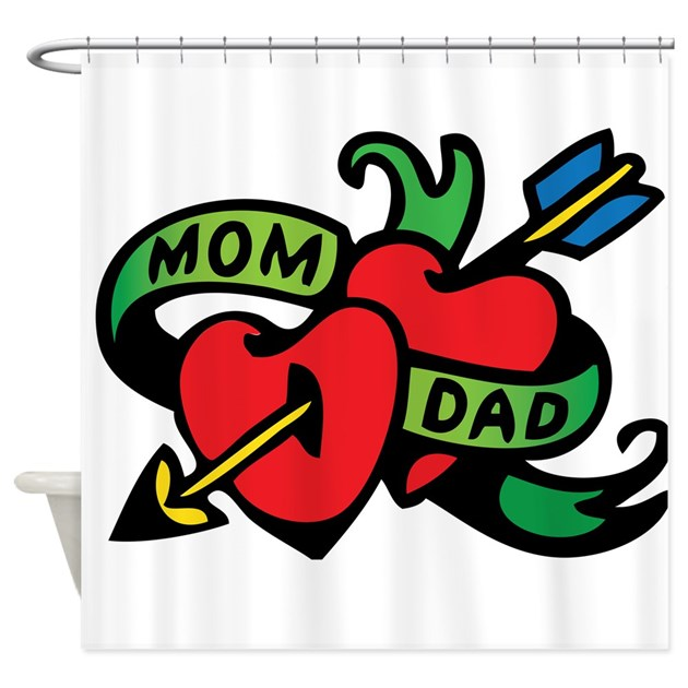 Heart And Mom Dad Tattoo: Mom And Dad Heart Tattoo Shower Curtain By BabySwagger