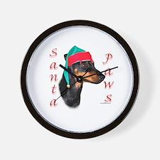 Santa Paws Miniature Bull Terrier Wall Clock