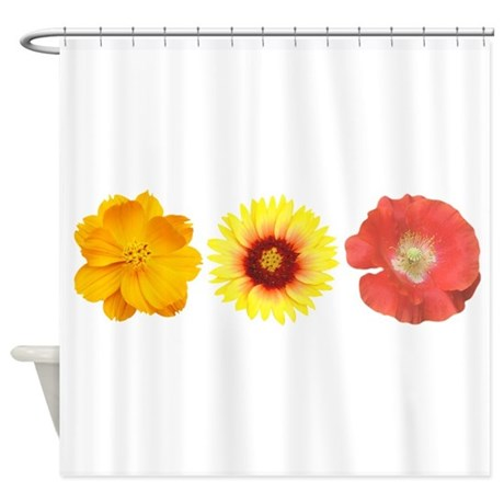 Three Flowers - Warm Colors Shower Curtain
