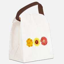 Three Flowers - Warm Colors Canvas Lunch Bag