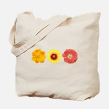 Three Flowers - Warm Colors Tote Bag