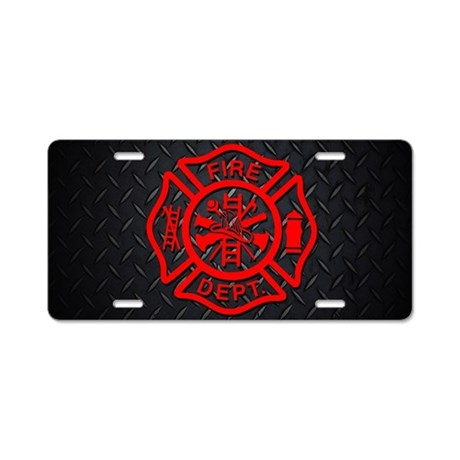 Fire Dept Aluminum License Plate