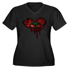 Alien Heart Women's Plus Size V-Neck Dark T-Shirt