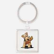 Welsh Terrier With Squirrel Square Keychain