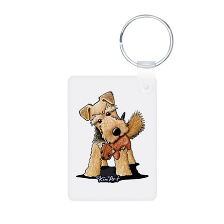 Welsh Terrier With Squirrel Aluminum Photo Keychai