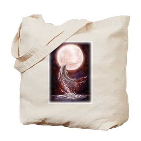 """Dolphin jumping under the moon"" Tote Bag"