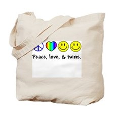 Peace, Love, & Twins Tote Bag